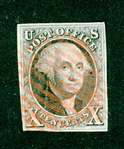 USA Scott 2 Used, Red Grid Cancels, with 2020 Crowe Cert (SCV $775)