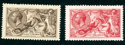 Great Britain Scott 173-174 Unused, F-VF, 1913 Britannia (SCV $725)