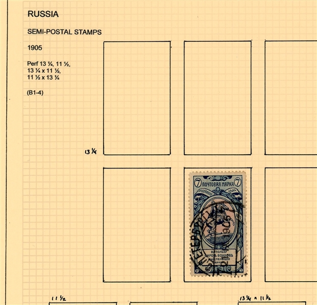 Russia Early Semi-Postals and Money Order stamps with Varieties (Est $200-300)