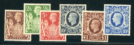 Great Britain Scott 249-251A, 275 Complete Set, MH F-VF (SCV $236)