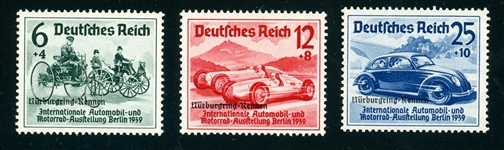 Germany Scott B141-B143 MNH Complete Set, F-VF, 1939 Autos (SCV $210)