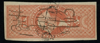 USA Scott R90a Used, $5 Manifest, Imperf with Nice Margins (SCV $250)