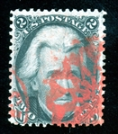 USA Scott 73 Used with Red Geometric Cancel, 1987 PF Certificate (SCV $105)