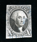 USA Scott 2 Used, Fine, Blue Cancel, with 2018 Crowe Certificate (SCV $800)
