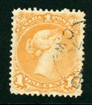 Canada Scott 23 Used F-VF, 1c Yellow Orange (SCV $300)