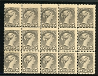 Canada Scott 42 MNH Block of 15, Fine (SCV $3450)