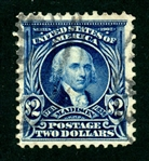 USA Scott 312 Used, F-VF, $2 Madison Perf. 12 (SCV $190)