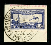 France Scott C6b Used on Piece with 1930 Expo Cancel (SCV $350)