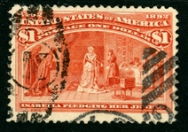 USA Scott 241 Used, F-VF, Faults, $1 Columbian (SCV $525)