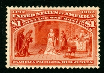 USA Scott 241 Unused, F-VF, Regum, $1 Columbian (SCV $500)