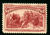 USA Scott 242 MH, F-VF, Tiny Fault - $2 Columbian (SCV $1050)