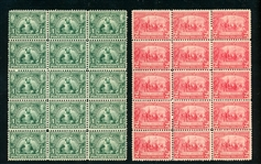 USA Scott 328, 329 MNH F-VF Blocks of 15, 1907 Jamestown (SCV $2250)