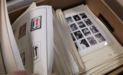 USA Mint Stamps on Album Pages Filling a Banker Box (Face $845)