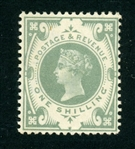 Great Britain Scott 122 MH F-VF, 1887 1sh Green Victoria (SCV $275)