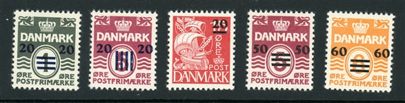 Faroe Islands Scott 2-6 MNH F-VF Surcharges (SCV $1150)