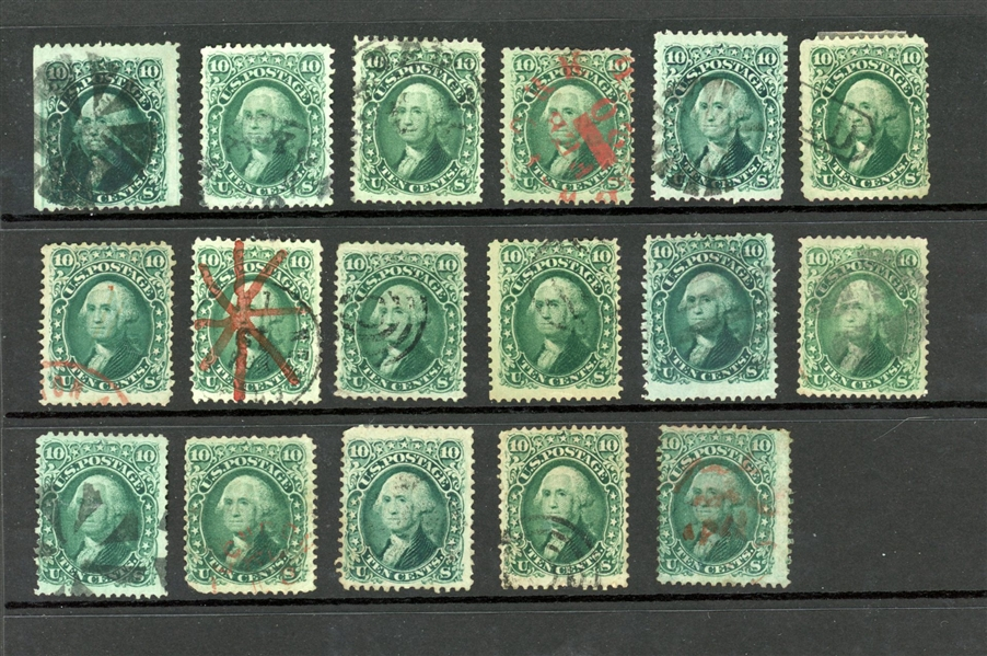 USA Scott 68 Cancel Accumulation, 17 Stamps (Est $250-350)