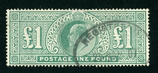 Great Britain Scott 142 Used F-VF, £1 KEVII Issue (SCV $825)
